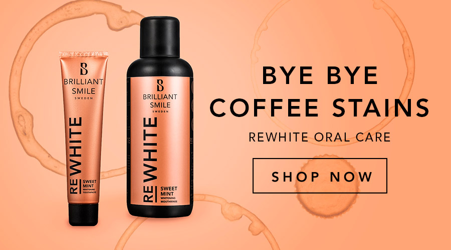 Say bye bye to coffee stains - try the new REWHITE oral care products!